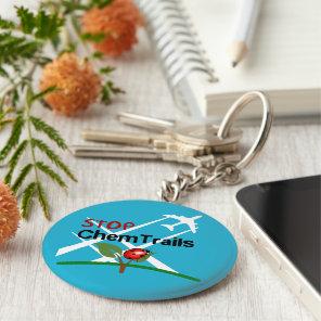 Stop Sign Plane Aerosol Trails LadyBug Keychain