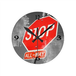 Stop Sign Round Clock