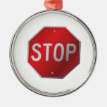 Stop Sign Round Metal Christmas Ornament