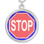 STOP SIGN ROUND PENDANT NECKLACE