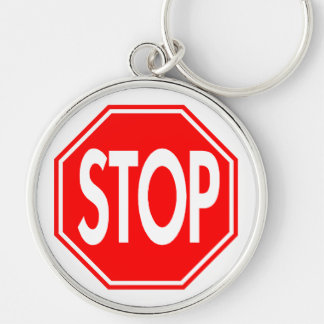 Stop Sign Silver-Colored Round Keychain