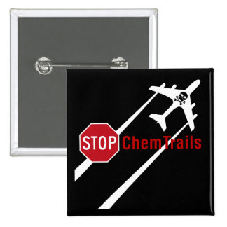 Stop Sign White Chemtrails Plane Death Skull 2 Inch Square Button