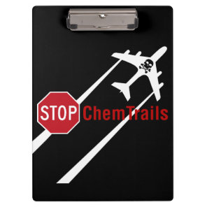Stop Sign White Chemtrails Plane Death Skull Clipboard