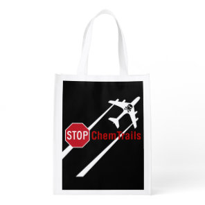 Stop Sign White Chemtrails Plane Death Skull Grocery Bag