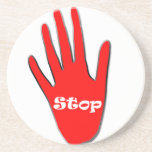 Stop signage drink coaster