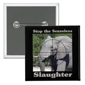 Stop Slaughter-Elephant 2 Inch Square Button