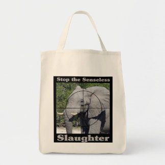 Stop Slaughter-Elephant Grocery Tote Bag