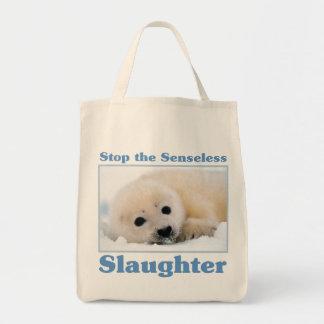 Stop slaughter-seals tote bag