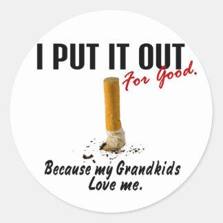 Stop Smoking I Put It Out Grandkids Love Me Classic Round Sticker