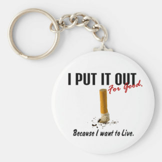 Stop Smoking I Put It Out I Want To Live Keychain