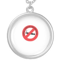 Stop Smoking Lung Cancer Awareness Silver Plated Necklace