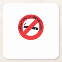 Stop Smoking Lung Cancer Awareness Square Paper Coaster