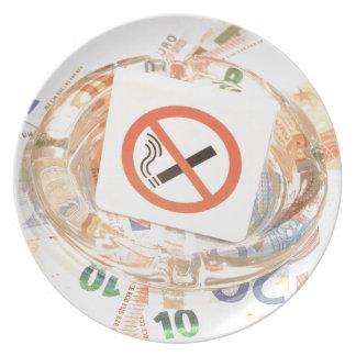 Stop smoking melamine plate
