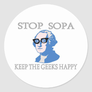Stop SOPA Keep The Geeks Happy Classic Round Sticker