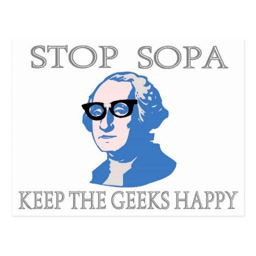 Stop SOPA Keep The Geeks Happy Postcards
