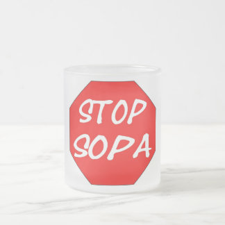 Stop SOPA 10 Oz Frosted Glass Coffee Mug
