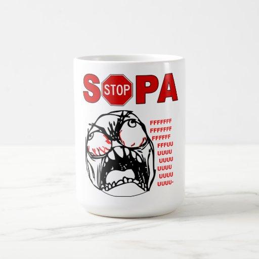 Stop SOPA Rage FU Meme Face Mug