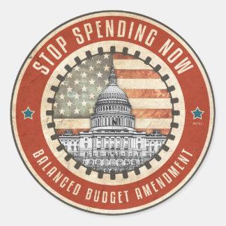 Stop Spending Now Classic Round Sticker
