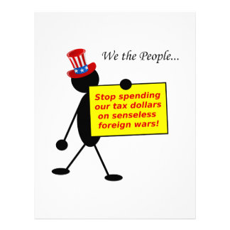 Stop Spending Our Tax Dollars on Senseless Wars Personalized Letterhead