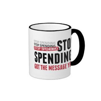 Stop Spending. Stop Spending. Stop Spending! Ringer Coffee Mug