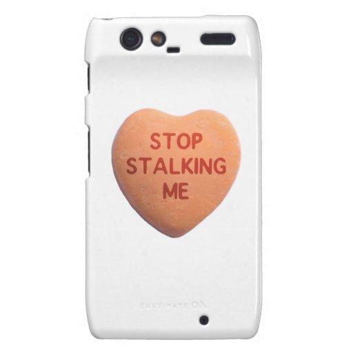 Stop Stalking Me Orange Candy Heart Droid RAZR Cover