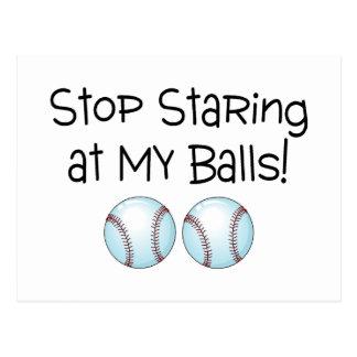 Stop Staring At My Balls (Baseball) Postcard