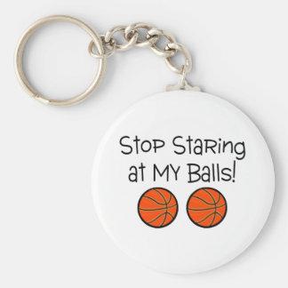 Stop Staring At My Balls (Basketballs) Keychain