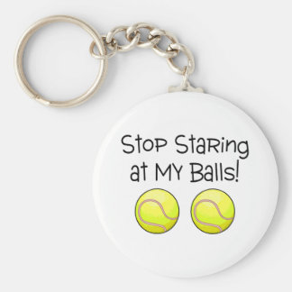 Stop Staring At My Balls (Tennis Balls) Basic Round Button Keychain