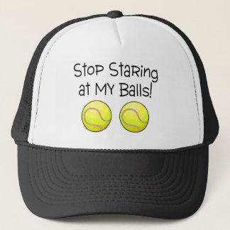 Stop Staring At My Balls (Tennis Balls) Trucker Hat