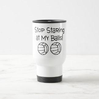 Stop Staring At My Balls Volleyballs Travel Mug