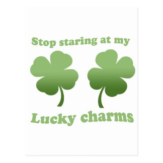 STOP STARING AT MY LUCKY CHARMS POSTCARD