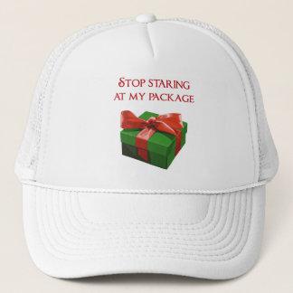 Stop Staring at my Package Christmas Present Trucker Hat