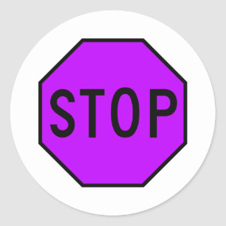 Stop Street Road Sign Symbol Caution Traffic Classic Round Sticker