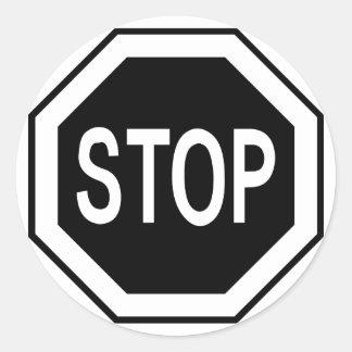 Stop Symbol Sign - Black on White Classic Round Sticker