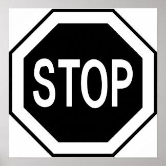 Stop Symbol Sign - Black on White Poster