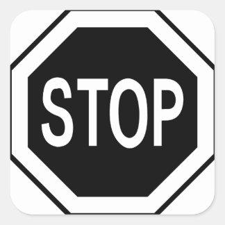 Stop Symbol Sign - Black on White Square Sticker