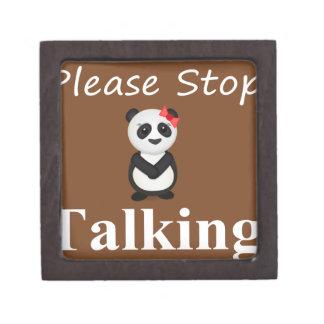 Stop Talking Panda Bear Premium Keepsake Box
