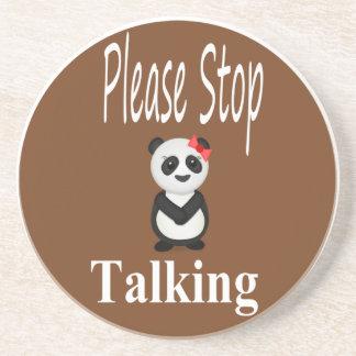Stop Talking Panda Sandstone Coaster