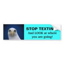 Stop Texting! Eagle Portrait Bumper Sticker