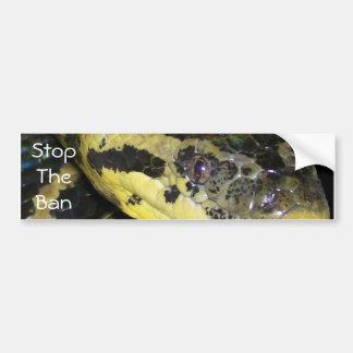 Stop The Ban Yellow Anaconda Car Bumper Sticker