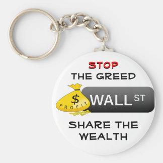 Stop the Greed keychain