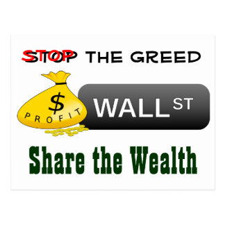 Stop the greed postcard