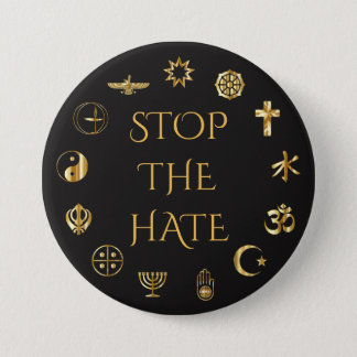 """Stop the Hate"" with Symbols of World Religions Button"