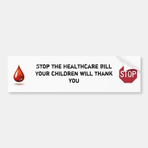 Stop the healthcare bill bumper sticker