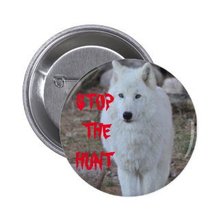 """""""STOP THE HUNT"""" White Wolf Button"""