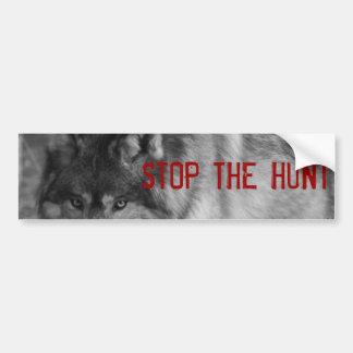 """StoP THE HUNT"" Wild Wolf Bumper Sticker Car Bumper Sticker"
