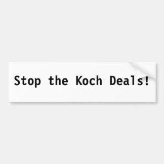 Stop the Koch Deals! Car Bumper Sticker