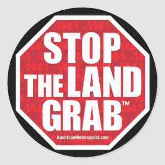 Stop The Land Grab Classic Round Sticker