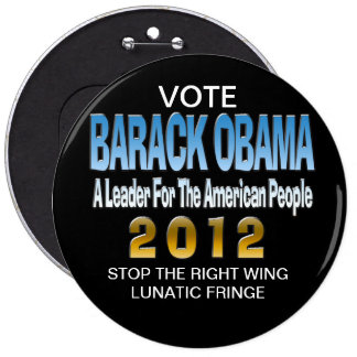 STOP THE LUNATIC FRINGE 6 INCH ROUND BUTTON