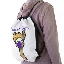 """Stop the Spit"" Llama Drawstring Backpack"